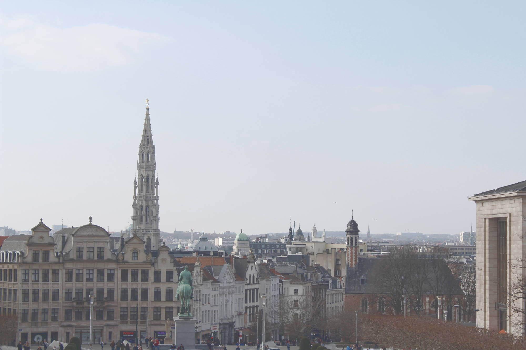 Blick vom Mont des Arts auf die Stadt Brüssel, Belgien