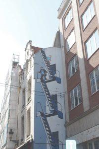 Bild von Tim und Struppi an Hauswand in Brüssel, Belgien