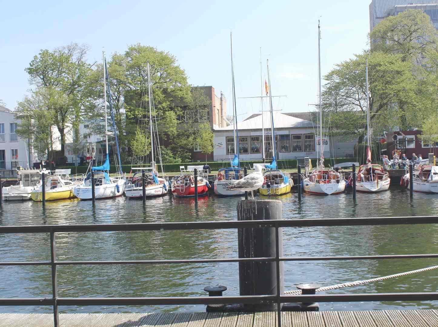 Blick von Promenade auf Segelboote in Yachthafen des alten Stroms in Warnemünde