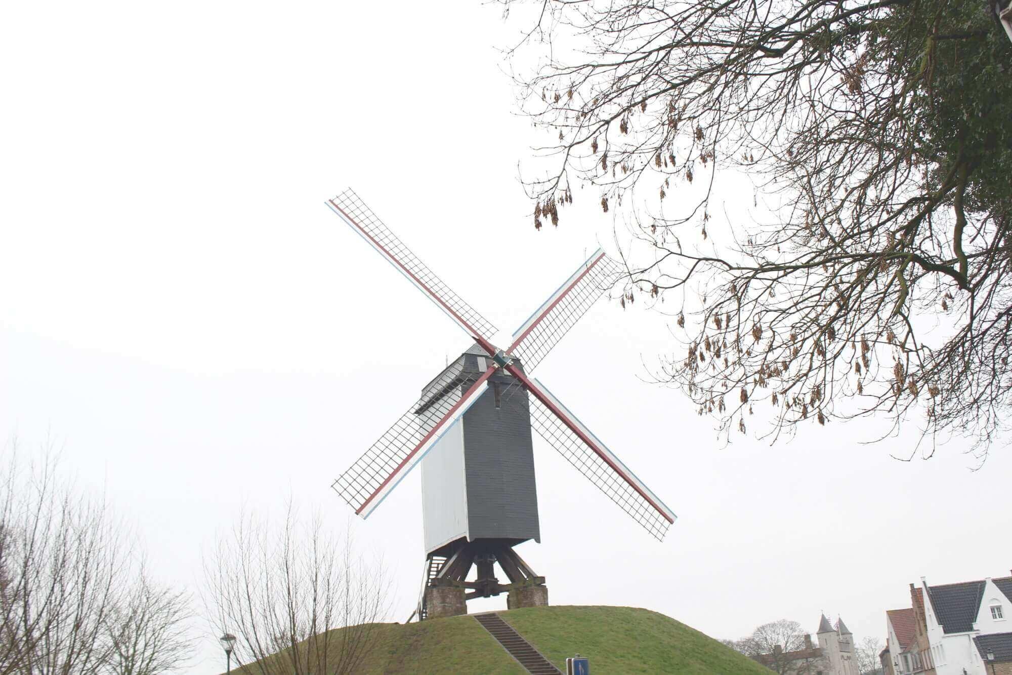 Windmühle auf Hügel in Brügge, Belgien