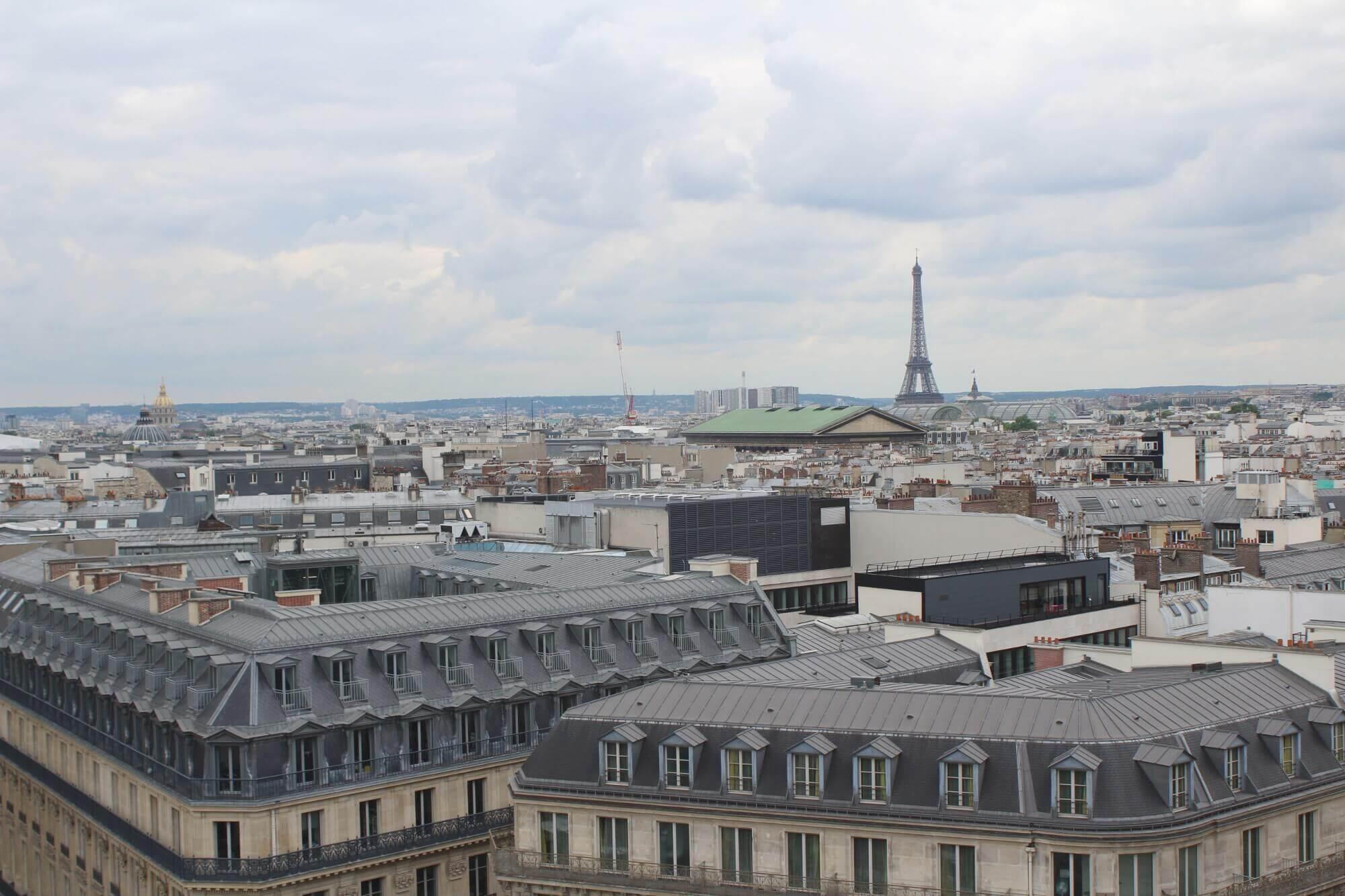 Blick von Dachterrasse der Galeries Lafayettes über ganz Paris mit dem Eiffelturm im Hintergrund