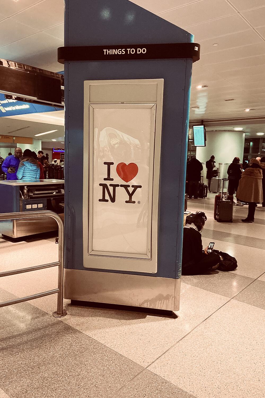 I love New York Schild am JFK-Flughafen in New York