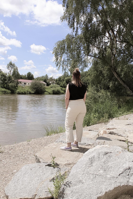 Blick auf die Donau an der Naumündung in Günzburg