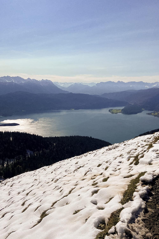 Blick auf den Walchensee über Schneeweide