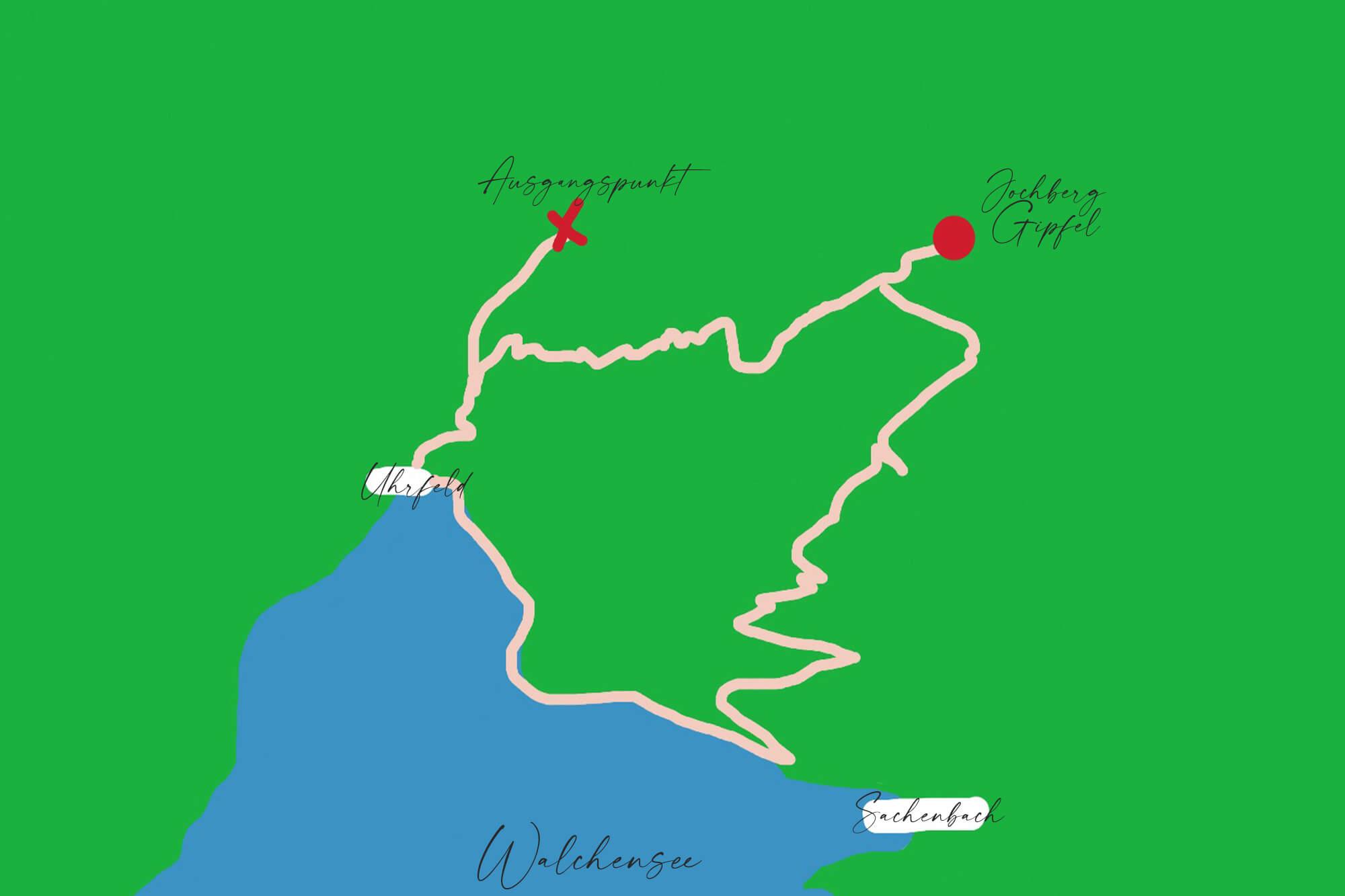 Karte mit Wanderroute zum Jochberg