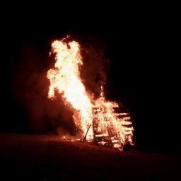 Abbrennendes Funkenfeuer in Weissenhorn