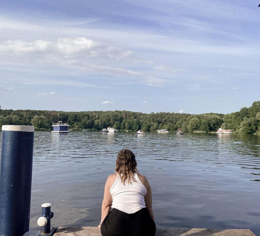 Blick auf die Havel vom Anlegersteg der Insel Lindwerder