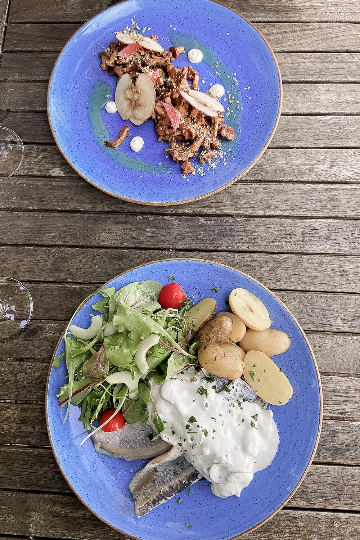Pfefferlingsalat und Matjes als Vorspeise im Lindwerder